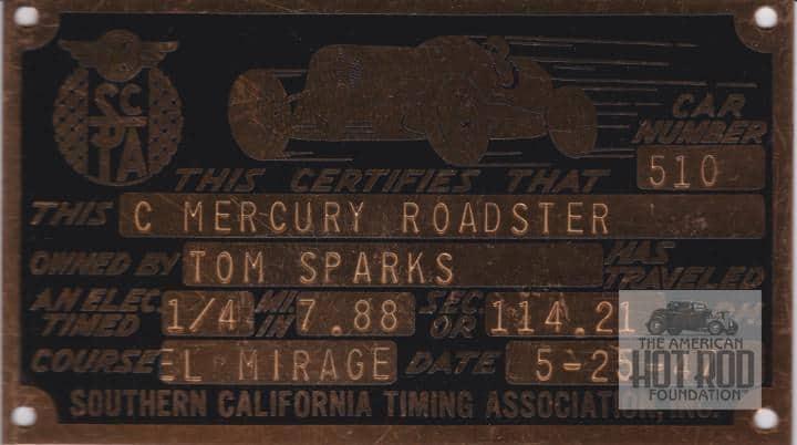 Sparks SCTA tag 1947